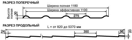 Металлочерепица Pruszynski Kron размеры