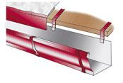 Схема установки желоба на крыше из металлочерепицы