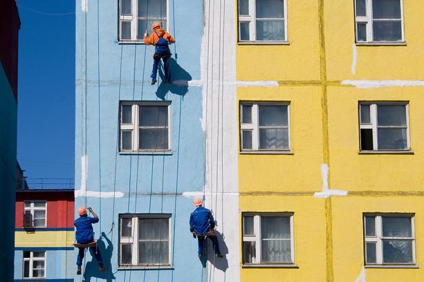 Фасадные работы многоэтажек