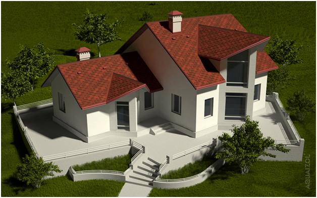 Дом с битумной черепицей Aquaizol на крыше